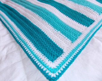 Made to Order Teal/Aqua Bright Striped Baby Blanket