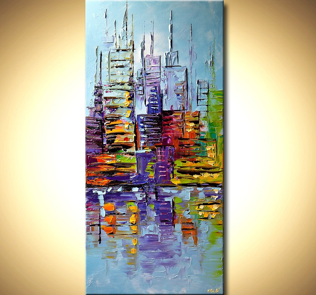 modern palette knife abstract city painting nyc art new york