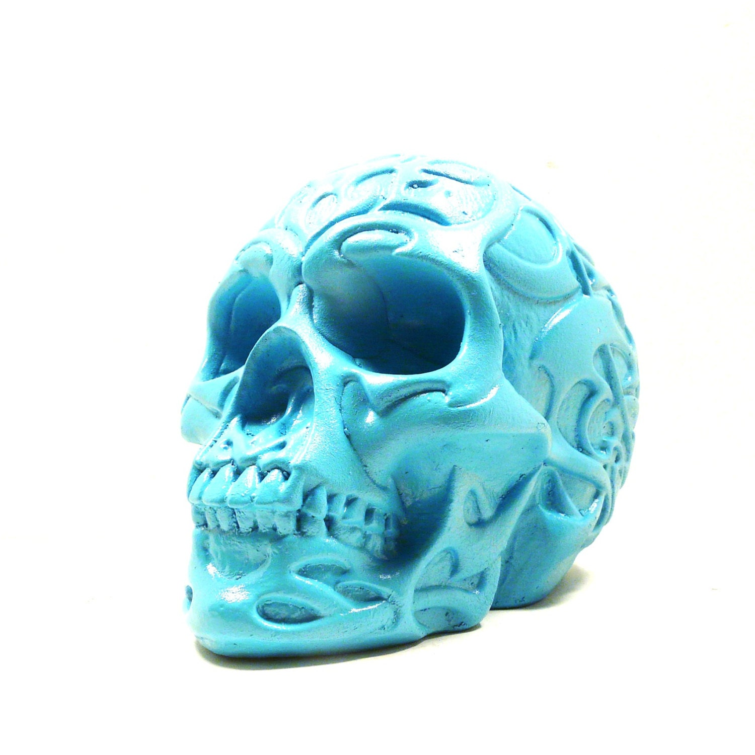 Day Of The Dead Skull Sculpture Tribal Home Decor By Skullpops
