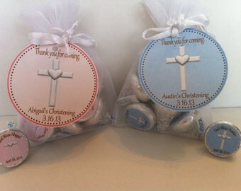Christening Favor Bag Set - Christening Favors - Baptism Favors - Christening Favor Tags