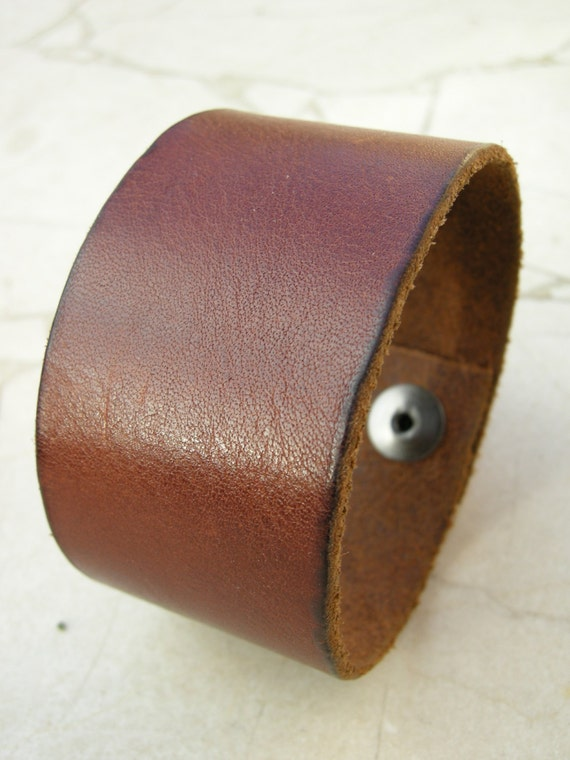 Mens Brown Leather Cuff Distressed Tough Bracelet with Snap BRN-45-1