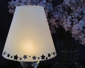 Vellum Wine Glass Luminary Shades with Stars - Set of 20 Shades