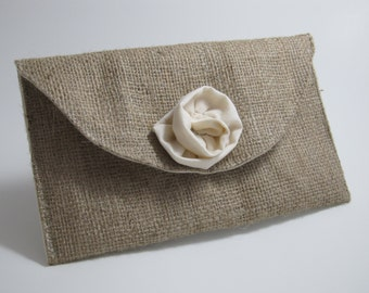 Burlap Clutch Purse with Muslin Rose - Bridal Party Accessory