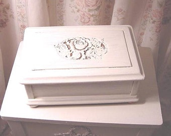 Box Carved Roses Painted Wood Cottage Farmhouse Prairie Chic