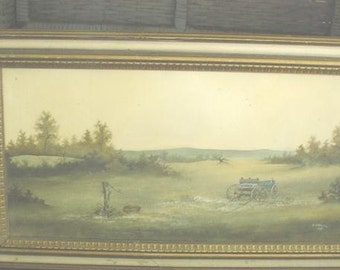 Vintage Oil Painting Landscape Farm Countryside Canvas Prairie Farmhouse