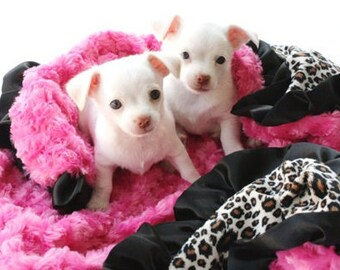 Minky Pet Blanket Leopard Hot Pink