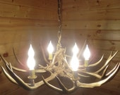 The Golden Antler Chandelier, very cool, hand painted metallic gold paint, perfect for that modern home
