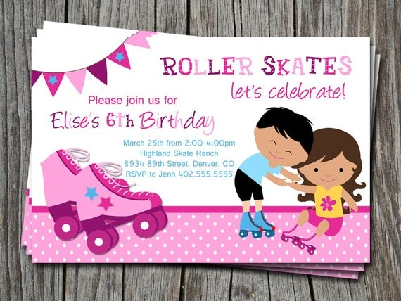 Custom Roller Skating Let's Celebrate Birthday Party Invitation Card   - You Print
