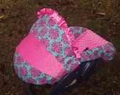 Medallion damask hot pink minky baby car seat cover infant seat cover slip cover Graco fit or evenflo