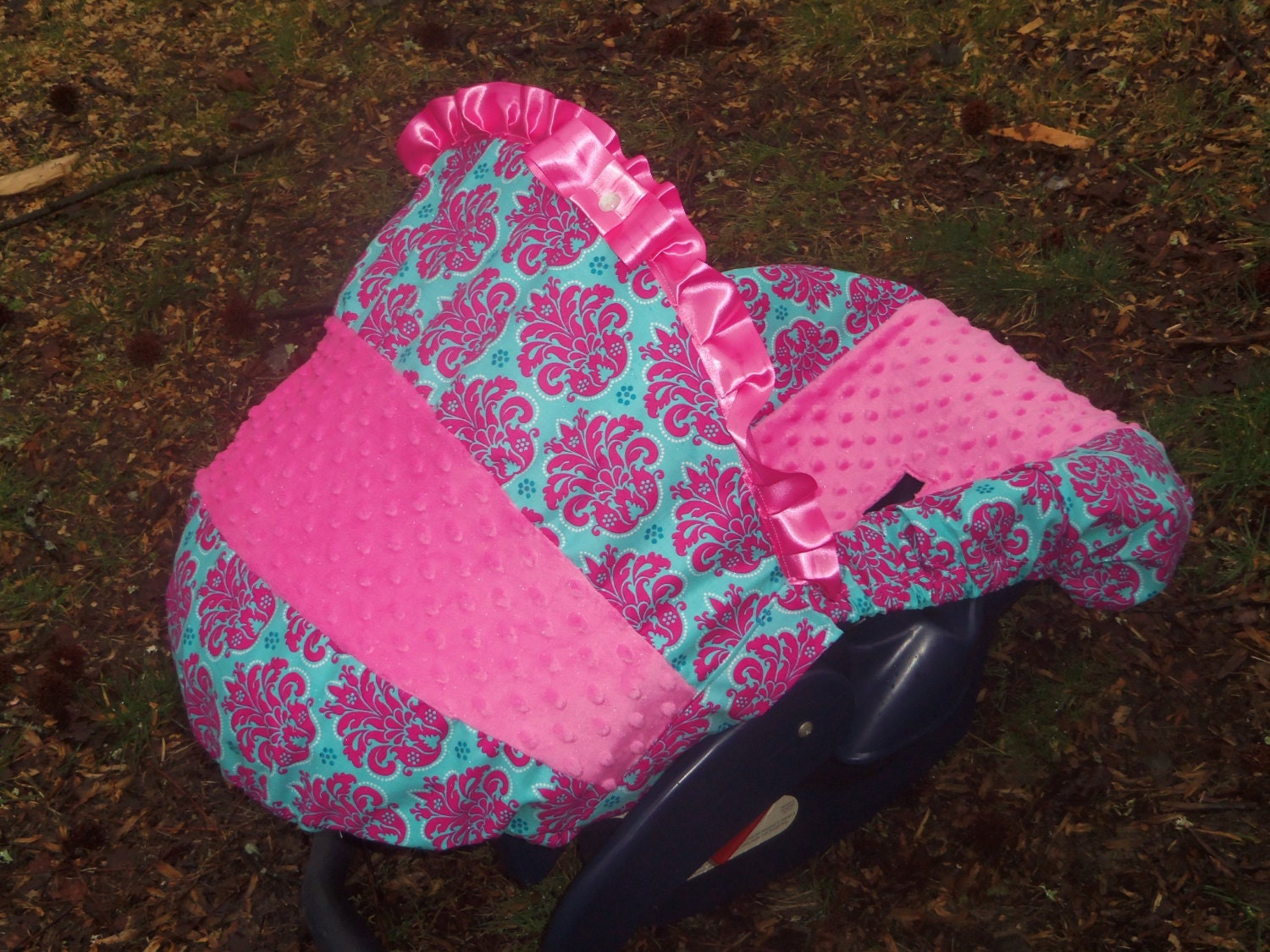 Medallion Damask Hot Pink Minky Baby Car Seat By