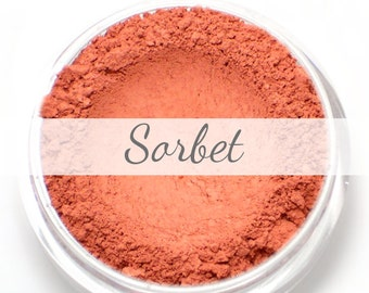 "Mineral Blush Sample - ""Sorbet"" (fresh strawberry red blush, matte finish) - Vegan"