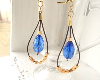 Leather Earrings - Extra Long Boho Earrings - Blue and Gold - Colorful Earrings - Long Leather Earrings