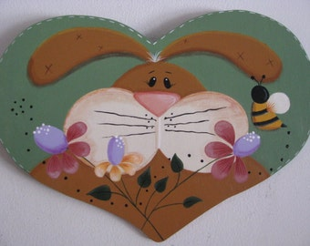 Bunny, Rabbit,  Easter, Heart,  Flowers, Bee, Handpainted, Wall Decor, Spring decor, hostess gift,  Prim, Larger one