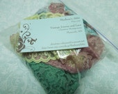 Goodie Grab bag lot of Pastel colored chantilly laces for crafts, sewing, doll,  trim, bridal, baby by MarlenesAttic