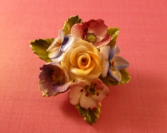Porcelian colorful flower stamped Brooch.