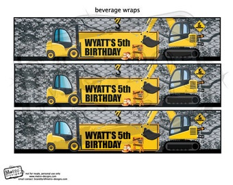 Construction Party - Beverage Wrappers