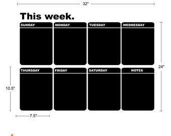 Chalkboard Calendar Vinyl Decal, Weekly Planner Chalkboard, Blackboard Vinyl Decal, Organize Your Home And Office Plans - ID417