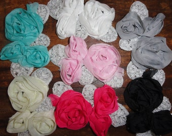 Clearance Chiffon Fabric Flower Rosette Flower applique Trim over 40 yards