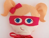 Girl Superhero Doll.  Stuffed soft customized My Gigi Doll.