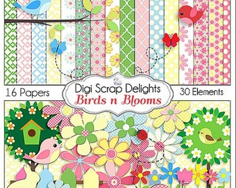 Birds n Blooms Scrapbook Kit for Digital Scrapbooking Card Making, Crafts, Party Favors, etc. Birds Flowers Clip Art, Instant Download