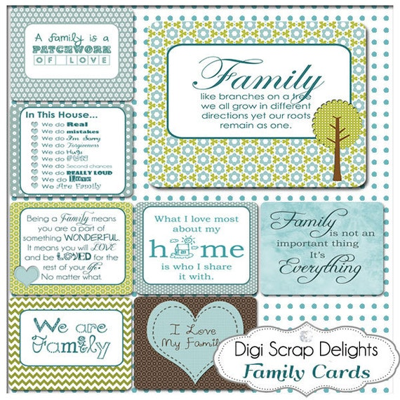 Family Sky Blue Pocket Cards 3x4 Project Life Style Blue Green Pocket Cards, Printable Digital Scrapbooking, Instant Download