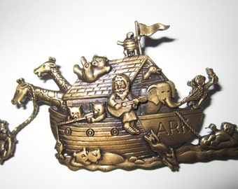 Vintage JJ Pin - Noah's Ark - Antique Gold Tone Brooch - Jonette Jewelry - Collectors Jewelry - Womens Fashion Accessory