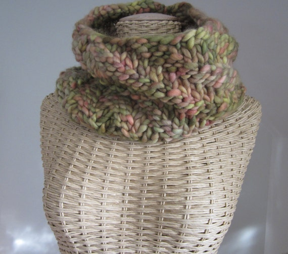 Hand Knit Rainforest Cowl - Super Chunky Soft Hand Painted Merino Wool Cowl - Chartreuse Coral Rose - Womans Fashion Accessory