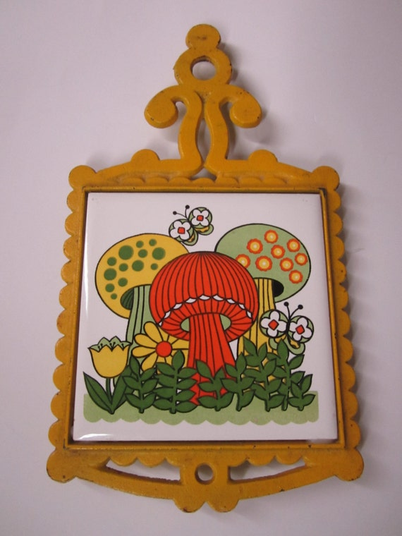 Vintage 1970s Mushroom Trivet - Cast Iron Trivet With Tile - Fun 70s ...