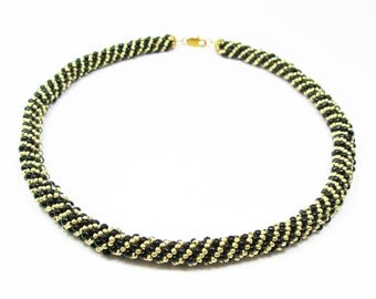 Black & Gold Russian Spiral Necklace