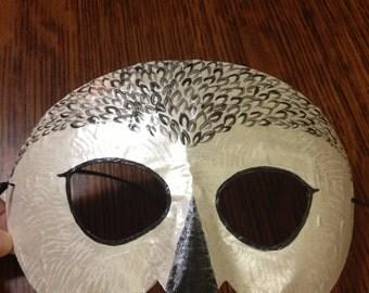 Snowy owl half mask, eye mask
