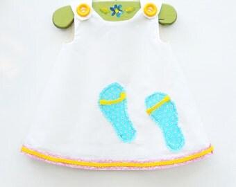 Little Sandals On Beach - Girls Dress - Unique Design - Art Designs - Beach Sandles - Limited Supply - KK Children Designs - 3M to 4T