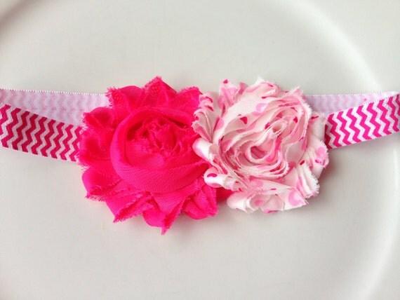 Baby Girl Headbands, Pink Flower Headband, Shabby Flowers, Shabby Chic Headbands, Baby Girl Hair Accessories, Shabby Flowers
