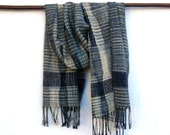 Men Handwoven Scarf /  Shawl Grey / Navy  Silk,  Unique Scarf