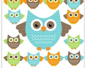 Cute Owls vol 3  - Digital Clip Art , Commercial Use Clipart, Scrapbook, Printable - Instant Download