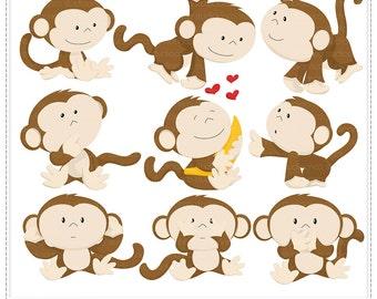 I Love Banana - Digital Clip Art , Commercial Use Clipart, Scrapbook, Printable - Instant Download