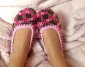 Multi-Colored Pink and Brown cozy Women's slippers --handmade -crochet