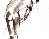 Leaning male figure. original ink figure painting