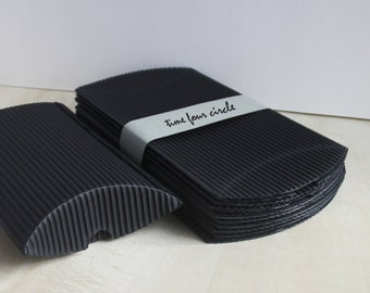 Set of 10, Black Strip Pillow Boxes, Favor, Gift, Party