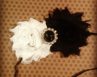 Black and White Shabby Chic Flower Headband...Adult Headbands...Baby/Infant Headbands...Hairbows