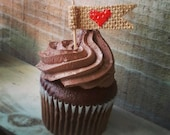 Set of 12-Burlap Heart Flag Cupcake Toppers-3 Burlap Colors Available-Wedding/Bridal Shower/Baby Shower/Engagement Party-Folk/Rustic/Country