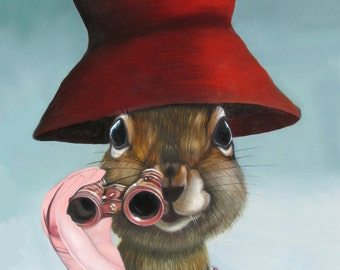 Package of three greeting cards and envelopes: Red Hat Squirrel with Opera Glasses, Pink Gloves. Pop Surrealism. Animal Art.