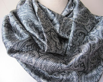 sale Paisley scarf, Grey gray paisley print infinity scarf - women's scarves-loop-circle scarf - office fashion