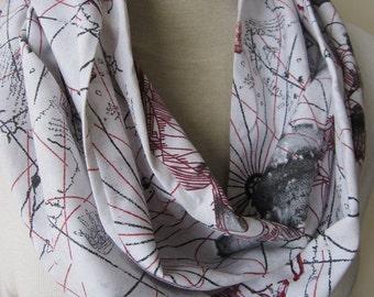 world map scarf-men's book scarf- women's cotton map print loop scarf- navy white stripe nautical coastal cottage scarf