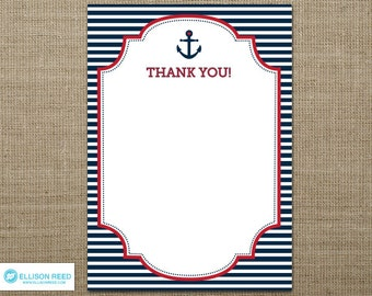 Nautical Printable - Nautical Baby Shower - Nautical Thank You Note - Ahoy - Anchor - Nautical Birthday - Navy - Stripes - red