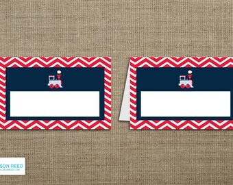 Train Birthday - Train BLANK Party Labels - buffet cards - place cards - Chevron - Train Printbale - Boy Birthday
