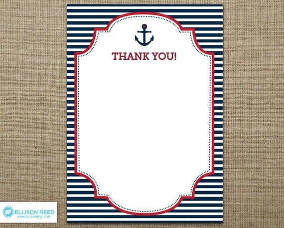 Nautical Printable - Nautical Baby Shower - Nautical Thank You Note - Ahoy - Anchor - Nautical Birthday - Navy - Stripes - red