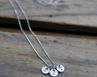 Handstamped Three Initials Pendant Necklace-sterling silver- Mothers Day