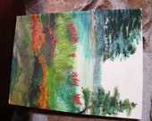 Original Acrylic Painting, Stretched Canvas, Flowers, Trees,  Water, Red, Aqua, Green, Landscape, OOAK