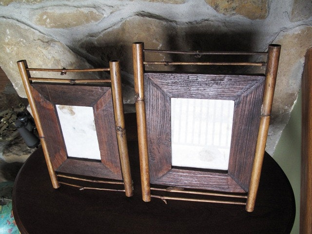Rustic Bamboo Picture Frames Easel Style Matching Brown Set