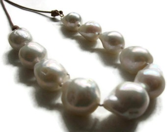 Large  Baroque Pearl Necklace, White Pearl Leather Necklace, Statement Pearls, Artisan Handmade by Sheri Beryl